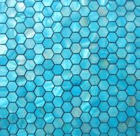 Wholesale 20mm Blue Hexagon Geometric Pearl Shell Mosaic Tiles