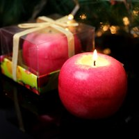 apple tealight - Creative Aromatherapy Tealight Simulation Apple Shape Candles Gift Set for Christmas Eve Wedding Festival Birthday Party