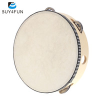 Wholesale HOT quot Hand Held Tambourine Drum Bell Birch Metal Jingles Percussion Musical Educational Toy Instrument for Kids Games