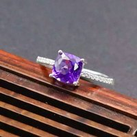 amethyst ring solid gold - Simple fashion silver ring inlay with high quality mm amethyst solid sterling silver crystal ring for girl engagement ring