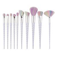 Wholesale 10pcs Unicorn Face Eyeliner Brush Thread Cosmetic Make Up Flat Brushes Set Makeup Tools