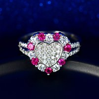 Wholesale 925 Sterling Silver heart shaped ruby ring inlaid group multicolored red corundum jewelry ring Nvjie fashion personality ruby finger ring