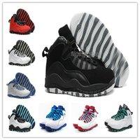 Con la caja los zapatos de baloncesto para hombre retros 10 hombres azules blancos estallaron el envío libre rojo de la alta calidad de los zapatos de Atheletic del hombre del azul X de OVO rojo US8-13
