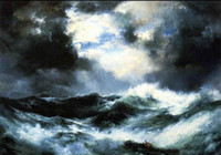 One Panel Oil Painting Nude Framed Thomas Moran - Moonlit Shipwreck at Sea seascape with ocean waves,Genuine Handpainted seascape Art Oil Painting Canvas,Multi sizeS001
