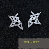 allergy card - Europe and the United States to play cards missing angle five angle star pearl earrings earrings jewelry female models anti allergy po