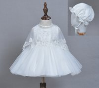 Wholesale 2016 NEW BABY birthday Christening Dress Newborn Baby Girl Princess Veil Dress with hat and veil ivory dress