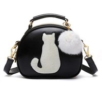 PU ball bag black - NEW Women Makeup Bags Crossbody Bag For Women PU Leather Cosmetic Bags Full Moon Candy Color Cute Cat With Fur Ball