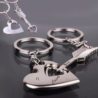 Wholesale Alloy Keychain Cupid arrow couple key chain lovers pendant key ring key chain for lovers