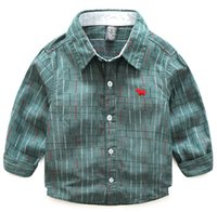 Wholesale Spring Style Cotton Yarn Dyed Boy Shirt with Long Sleeves Casual Wear Mixture different Sizes