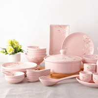 Wholesale japanese cherry story tableware hand printed chinese ceramic bowl dishes