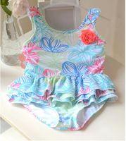 Maillot de bain mignon bébé une pièce avec motif de fleurs 1-8Y filles sec-facile maillot de bain kid / enfants natation costume sw0662