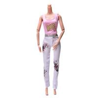Wholesale 2 Set New Fashion quot Dolls Clothes White Pants Printed Clothes Pink Vest Suit For Barbie Doll Accessories
