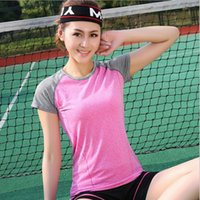 Wholesale Comfortable Women s Short sleeve Summer Sport Fitness Yoga Gym Quick drying T shirt Clothes Sports Tennis Lady Girl Shirt Clothes