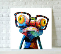 One Panel art frame glass - Pop Art Hand Painted Cartoon Animal Canvas Oil Painting Living Room Home Decoration Modern Paintings Wearing Glasses Frog Framed A6G2