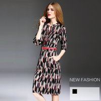 beautiful quarters - Best Sales Women V Neck Printing One Piece Sexy Dress Three Quarter Sleeve Keep Shape Beautiful Fashion Style Fast Shipping YM16483