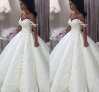 Wholesale New Arabic White Wedding Dresses Off The Shoulder Sweetheart Ruffle Appliques Lace Floor Length Sequined Bridal Gowns Vestido De Novia