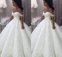 Acheter Robes blanches chérie volants de mariage-Robe de mariée en satin de mariée en satin de mariée