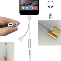 Wholesale 2in1 Earphone Charging Port USB Charger Cable for phone to mm Jack Audio Aux Port Headphone Cord Adapter