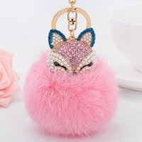 ali pendant - New ali head plush ball keychain car accessories creative pendant fox fur girls head ornaments bag Get the best small girlfriend