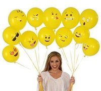Wholesale Emoji Universe Balloons Latex Smiley Face party birthday Yellow baloon Emoji Smiley Face Latex Balloons Hat HHA1007