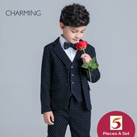 Wholesale Brand New boys wedding suits Long sleeve style boys piece suit High quality fabrics designer suits for kids From china suppliers