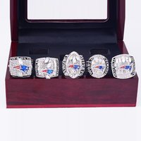 Wholesale 5 Sets New England Super Bowl Patriots Championship Ring With Wooden Box Size