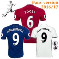 Men best football fans - Fans version The Premier League Man Jersey Man Utd Best Quality Jerseys Red Blue White IBRAHIMOVIC ZLATAN football uniforms