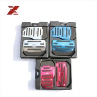 Wholesale Universal Aluminum Automatic Transmission Silver Red Blue and black Non Slip Car Pedal Cover Set kit Sports Vehicle Pad