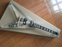Wholesale factory custom flying V shape Acrylic Electric guitar Transparent head body with LED Light Gold Hardware