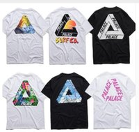 Imprimé floral t-shirts femmes Avis-NOUVEAU Summer European Fashion Palace Skateboard Triangle Imprimer kanye coton Tops T-shirt manches courtes pour les hommes Femmes Loose Tee
