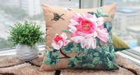 Wholesale New ribbon stitch pillow cushion cover the living room lying flower stereo handmade DIY cross stitch by printing pillowcase