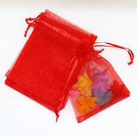 Wholesale 100ps x12cm Red Color Jewelry Gift Organza Bags Wedding Favors Candy Pouches Home Party Decoration Crafts Pack Festive Supplies