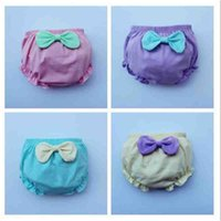 Wholesale 5 Colors Baby Training Pants Infant Bread pants New Girls Underwear Washable Babies Wear Briefs Cute Bowknot Shorts Suit For Y Girl A6334