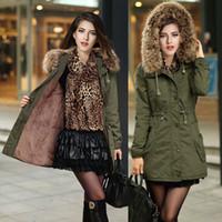achat en gros de manteaux de style militaire des femmes-Hiver femmes Parka Casual Outwear militaire manteau à capuchon veste d'hiver femmes manteaux de fourrure femmes fourrure de fourrure doublure femmes manteau de fourrure manteau