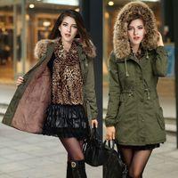 Wholesale Winter Womens Parka Casual Outwear Military Hooded Coat Winter Jacket Women Fur Coats Women s Faux fur lining women s fur jackets coat