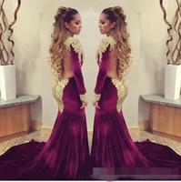 beaded velvet - 2016 Mermaid Prom Evening Dresses with Long Sleeve Burgundy Velvet High Keyhole Neck Gold Sequins Beaded Formal Pageant Gowns Sweep Train