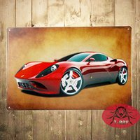 antique race car - Red Super Car Racing Car Vintage Decor X30cm metal art Poster