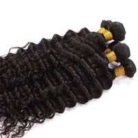 Wholesale Vinsteen Pieces g Unprocessed Natural Color Non Remy Smooth Human Hair Extension Deep Wave Hair wefts Bundles Can Be Colored