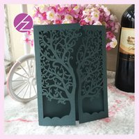Wholesale hot sale chic tree design wedding party decoration paper craft laser cut wedding invitation card greeting card QJ