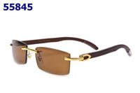 Wholesale Luxury fashion rectangle rimless plain mirror glasses men women wooden buffalo horn sunglasses lunettes de soleil
