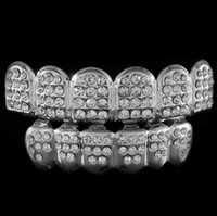Wholesale 6 Silver Teeth GRILLZ Top Bottom ICED OUT CZ Tooth Caps Grill HipHop Bling with free Silicone mode