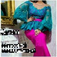 Cheap 2017 Hot New Blue and Fuchsia Arabic Evening Dresses Vintage Long Sleeves Crew Neck Peplum Mermaid Dubai Party Prom Dress Floor Length