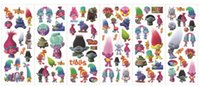 Wholesale 1000pcs DHL Free Trolls Bubble stickers Cartoon Wall Stickers Children Kids Boys Cartoon Stickers Decoration Trolls Poppy
