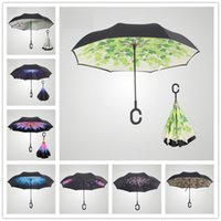 Wholesale New Fashion Inverted Umbrellas C shape Handle Grid Sky Waterproof Double Layer Reverse Umbrella Rain Umbrella B0896