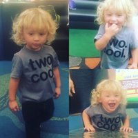 Wholesale 2017 Baby boy INS T shirt boys cotton two cool letter gray tops kids spring summer short sleeve tops