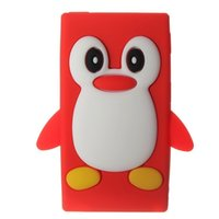 Wholesale Cute D Penguin Soft Silicone Back Washable Cover Case Protective Skin for iPod Nano th Gen Red