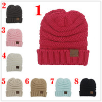 Wholesale For Kid hat CC Trendy Warm Oversized Chunky Soft Oversized Cable Knit Slouchy Beanie color