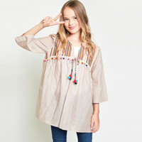 Wholesale Spring Girls BOHO Striped Blouse New Kids Casual Cotton Blouses Cute Children Classical Tassel Tops