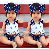 achat en gros de filles maillot de bain bandeau-2017 Tenues de vêtements pour nouveau-nés bébé marines ancre imprimé dessus + polka point pantalons pp + bowknot bandeau trois pièces bébé point de bain 3piece