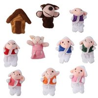Wholesale The Wolf and Seven Little Lambs Animals Finger Puppets Set For Kid Children Unisex Finger Toys Education Toy